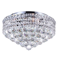 "16"" Primo Transitional Round Crystal Flush Mount Ceiling Chandelier Polished Chrome 4 Lights"