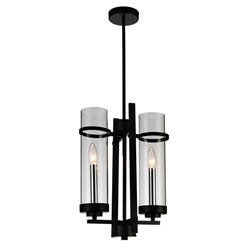 "16"" Sierra Modern Black Iron Mini Pendants 2 Lights"