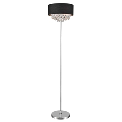 "16"" Struttura Modern Crystal Round Floor Lamp Double Shade Black Fabric 4 Lights"