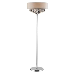 "16"" Struttura Modern Crystal Round Floor Lamp Double Shade Offwhite Fabric 4 Lights"