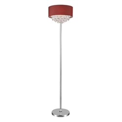 "16"" Struttura Modern Crystal Round Floor Lamp Double Shade Wine Red Fabric 4 Lights"