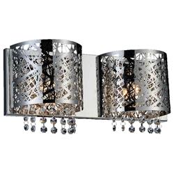 "16"" Web Modern Laser Cut Crystal Rectangular (R) Vanity Light Stainless Steel 2 Lights"