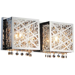 "16"" Web Modern Laser Cut Crystal Rectangular (S) Vanity Light Stainless Steel 2 Lights"