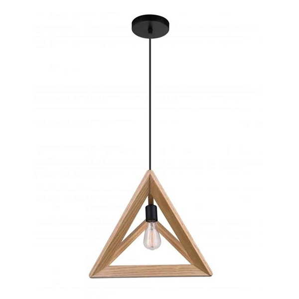 """Picture of 17"""" 1 Light  Pendant with Black & Wood finish"""
