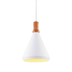 "17"" 1 Light Down Mini Pendant with White finish"