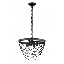 "17"" 4 Light  Chandelier with Black finish"