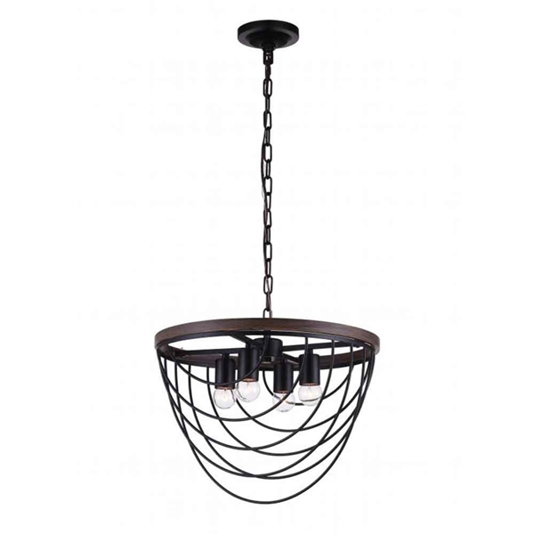 "Picture of 17"" 4 Light  Chandelier with Black finish"