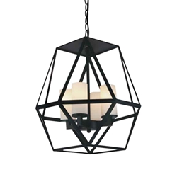 """17"""" 4 Light Candle Chandelier with Black finish"""
