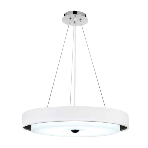 "Picture of 17"" LED Drum Shade Pendant with Black & White finish"