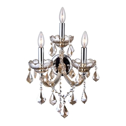 "17"" Maria Theresa Traditional Crystal Wall Sconce Polished Chrome 3 Lights"