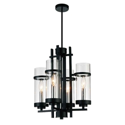 "17"" Sierra Modern Black Iron Mini Round Chandelier 4 Lights"