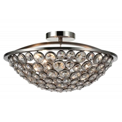 "18"" 3 Light Bowl Flush Mount with Satin Nickel finish"