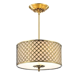 "18"" 3 Light Drum Shade Chandelier with French Gold finish"