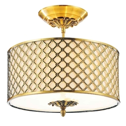 "18"" 3 Light Drum Shade Flush Mount with French Gold finish"