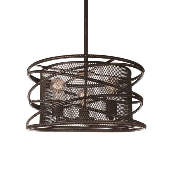 "Picture of 18"" 3 Light Up Chandelier with Brown finish"