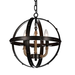 """18"""" 3 Light Up Chandelier with Rust finish"""