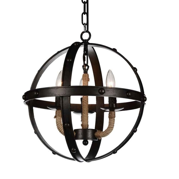 "Picture of 18"" 3 Light Up Chandelier with Rust finish"