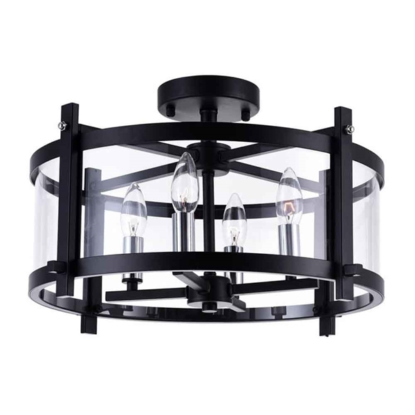 "Picture of 18"" 4 Light Cage Flush Mount with Black finish"