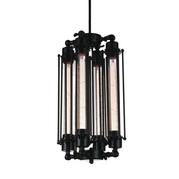 """Picture of 18"""" 4 Light Down Mini Pendant with Black finish"""