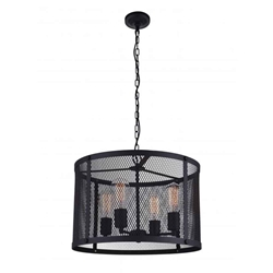 "18"" 4 Light Drum Shade Pendant with Reddish Black finish"