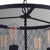 "Picture of 18"" 4 Light Drum Shade Pendant with Reddish Black finish"