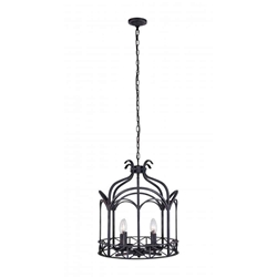 """18"""" 4 Light Up Chandelier with Grayish Brown finish"""