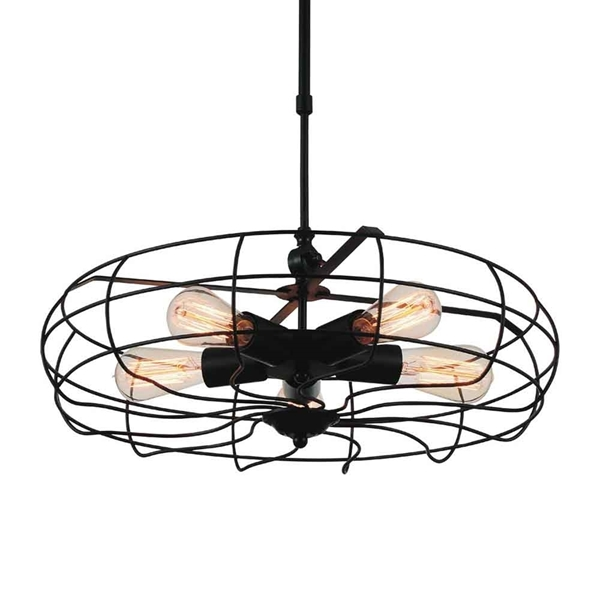 "Picture of 18"" 5 Light  Pendant with Black finish"