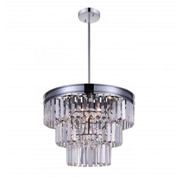 """18"""" 5 Light Down Chandelier with Chrome finish"""