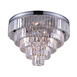 """18"""" 6 Light Drum Shade Chandelier with Chrome finish"""