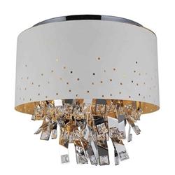 "18"" Comodo Modern Crystal Round Flush Mount White Metal Shade 6 Lights"