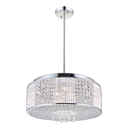 "18"" Cristallo Modern Crystal Round Pendant Chandelier Polished Chrome 9 Lights"