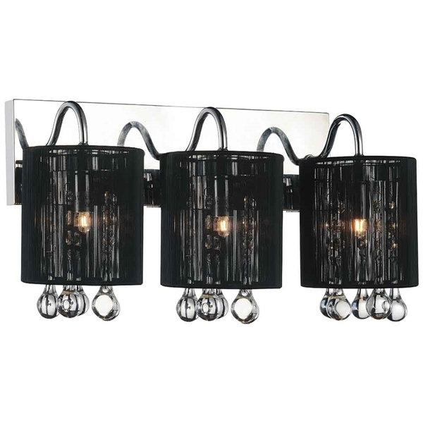 "Picture of 18"" Gocce Modern Crystal String Shade Vanity Light Linear Wall Sconce 3 Lights"