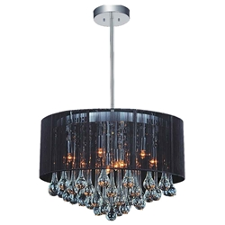 "18"" Gocce Modern String Drum Shade Crystal Round Chandelier Polished Chrome with Black / White / Silver Shade 6 Lights"