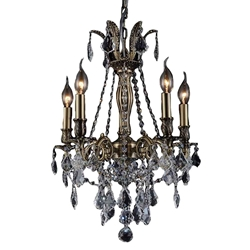 "18"" Imperatore Traditional Crystal Candle Round Chandelier Antique Brass 5 Lights"