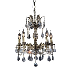 "18"" Imperatore Traditional Crystal Candle Round Chandelier Antique Brass 5.Lights"