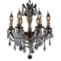 "18"" Imperatore Traditional Crystal Candle Round Chandelier Antique Brass 6 Lights"