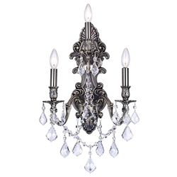 "18"" Imperatore Traditional Crystal Candle Wall Sconce Antique Brass 3 Lights"