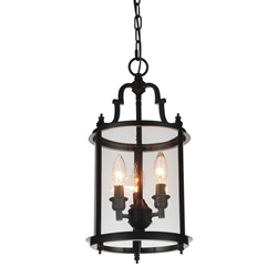 "18"" Lantern Contemporary Rubbed Oil Bronze Round Pendant 3 Lights"