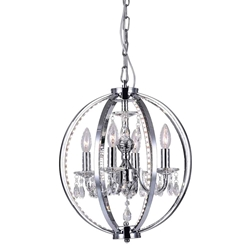 "18"" Led Cage Modern Crystal Round Pendant Chandelier Polished Chrome 4 Lights"