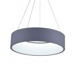 "18"" LED Drum Shade Pendant with Gray & White finish"