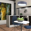 """Picture of 18"""" LED Drum Shade Pendant with Gray & White finish"""