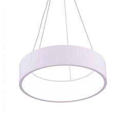 "18"" LED Drum Shade Pendant with White finish"