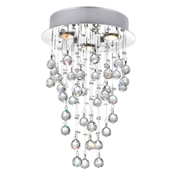 "18"" Raindrops Modern Foyer Crystal Round Chandelier Mirror Stainless Steel Base 3 Lights"