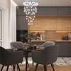 "Picture of 18"" Raindrops Modern Foyer Crystal Round Chandelier Mirror Stainless Steel Base 3 Lights"