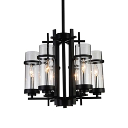 "18"" Sierra Modern Black Iron Round Chandelier 6 Lights"