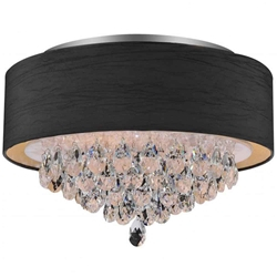 "18"" Struttura Modern Crystal Round Flush Mount Double Shade Black Fabric 4 Lights"