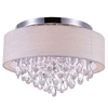 """Picture of 18"""" Struttura Modern Crystal Round Flush Mount Double Shade Offwhite Fabric 4 Lights"""