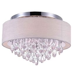 "18"" Struttura Modern Crystal Round Flush Mount Double Shade Offwhite Fabric 4 Lights"