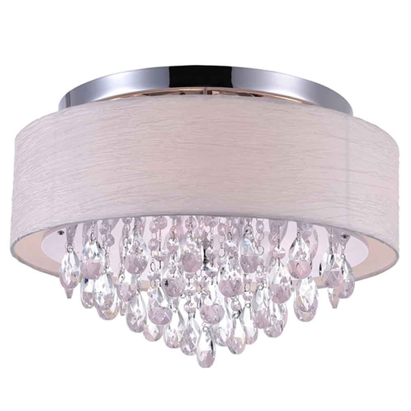 "Picture of 18"" Struttura Modern Crystal Round Flush Mount Double Shade Offwhite Fabric 4 Lights"