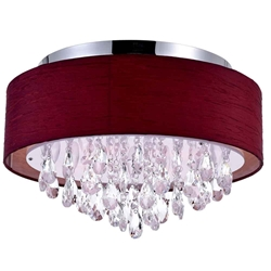 "18"" Struttura Modern Crystal Round Flush Mount Double Shade Wine Red Fabric 4 Lights"